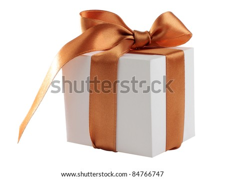 Color photo of a box and gold ribbon
