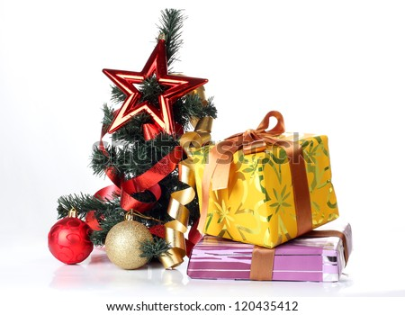Color photo of a Christmas tree and Christmas toys - stock photo
