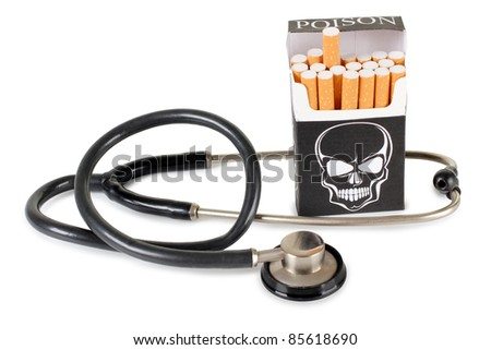 Color photo of a cigarette pack with a picture of skull and stethoscope