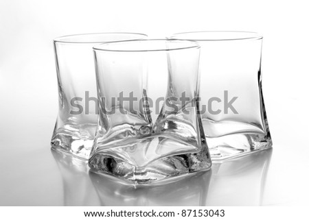 Color photo of a empty glass of whiskey