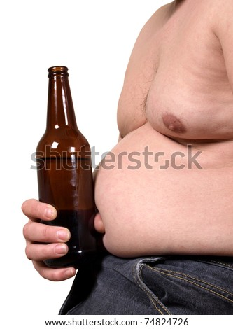 Color photo of a fat man with a beer