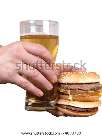 Color photo of a fat man with a hamburger and beer in his hand