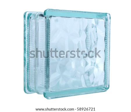 Color photo of a glass block for the construction on a white background