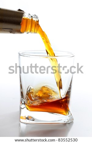 Color photo of a glass of whiskey