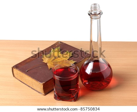 Color photo of a glass of wine and book