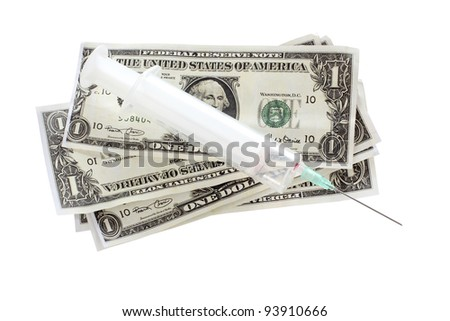 Color photo of a medical syringe and paper money