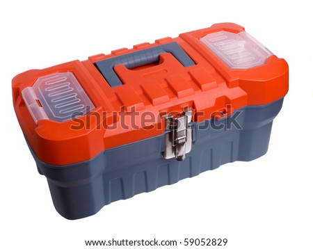 Color photo of a plastic toolbox on white background