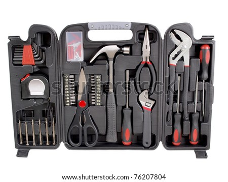Color photo of a suitcase with work tools