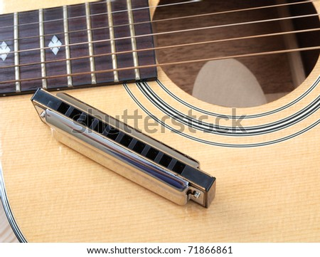 Color photo of acoustic guitar and harmonica