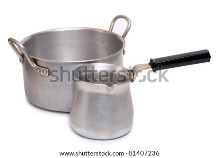 Color photo of an old aluminum pot