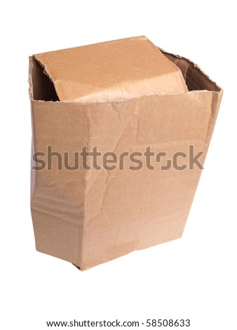 Color photo of an old cardboard box