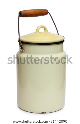 Color photo of an old enameled cans for milk