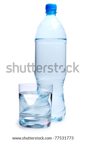 Color photo of bottle and a glass of water