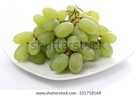 Color photo of grapes called a white plate