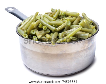Color photo of green beans in a metal pan
