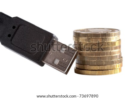 Color photo of pile of coins and computer wires