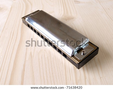 Color photo old harmonica in wood