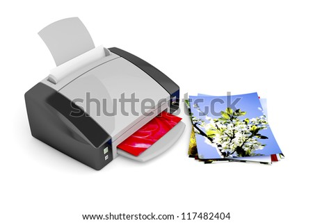 Color photo printer on white background