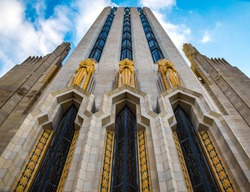Color photograph of Boston Avenue Methodist Church located in Tulsa, Oklahoma. This is a great example of art deco style of architecture.