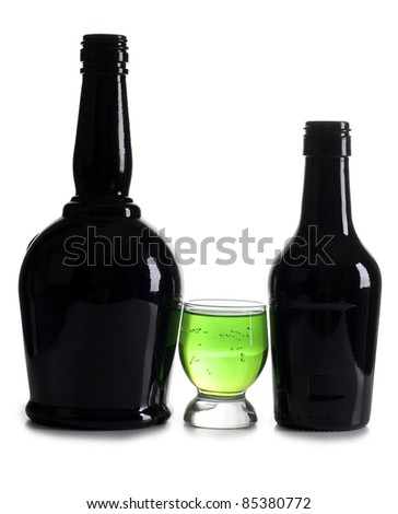 Color photograph of bottle and cocktails in glass beakers
