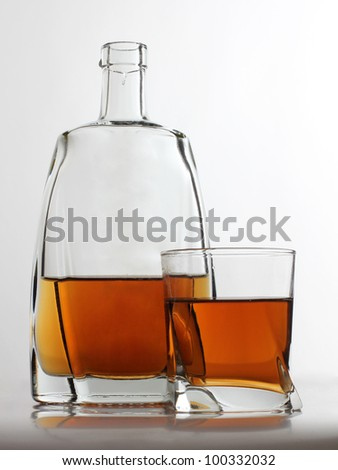 Color photograph of glasses of cognac - stock photo