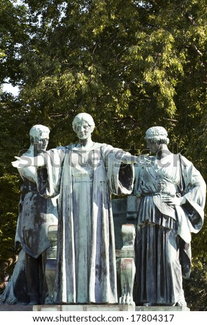Color photograph of the University of Illinois Alma Mater statue on campus.