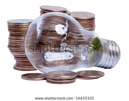 Color photos of coins and an electric lamp on white background