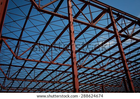 Color picture of a red metal construction