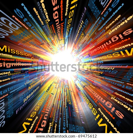 color picture of business words explosion against black background