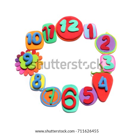Color plasticine numbers, isolated. Clay watch. Plasticine watch. Clock face