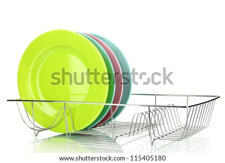 Color plates in rack isolated on white