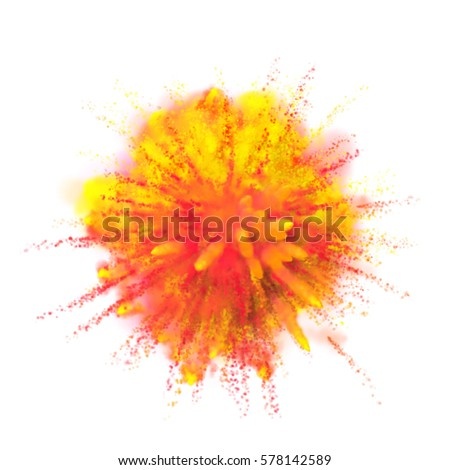 Color powder explosion background. Yellow with red-orange dust paint coloured explode for Holi Festival.