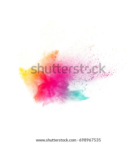 color powder splatted on white background. #698967535