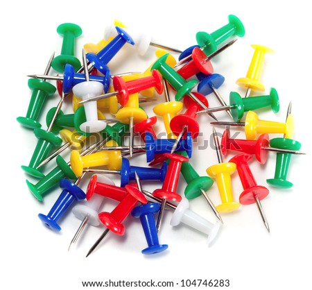 color push-pin thumbtack tool office isolated on white background