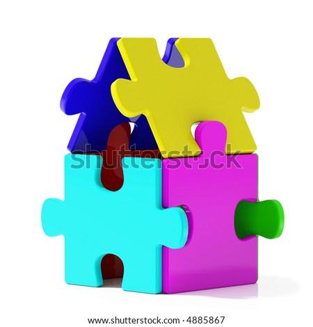 Color Puzzle Home - stock photo