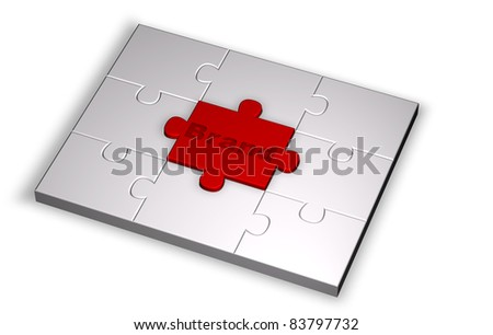Color puzzle rendered from 3D illustration with brand word