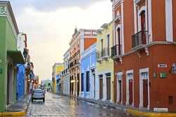 Color rainy street in Campeche