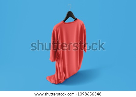 Color Red Blank Tshirt Mockup on hanger on Blue background. 3d rendering