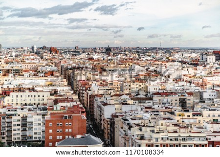 Color residential quarter in Madrid with a street in middle