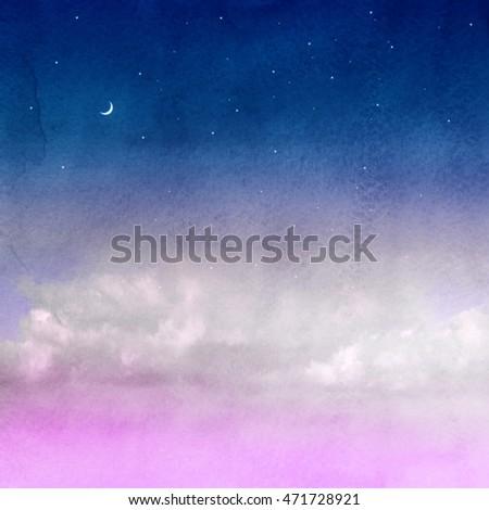Color romantic sky background. Watercolor #471728921