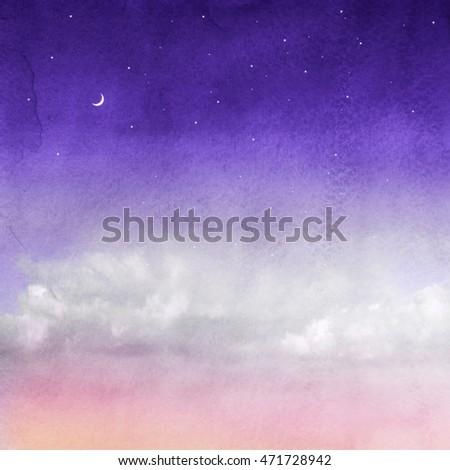 Color romantic sky background. Watercolor #471728942