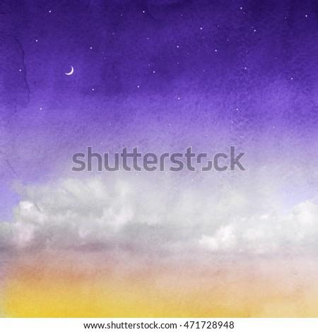 Color romantic sky background. Watercolor #471728948