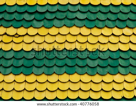 Color Roof Tiles Yellow And Green Stock Photo 40776058