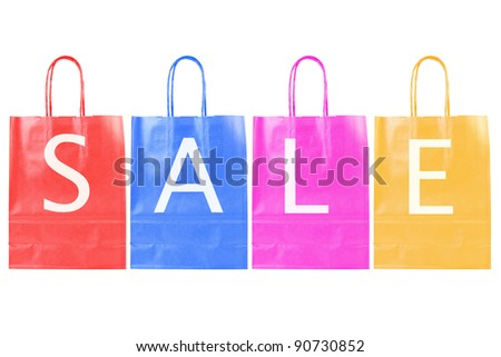 color sale shopping bags isolated on white background