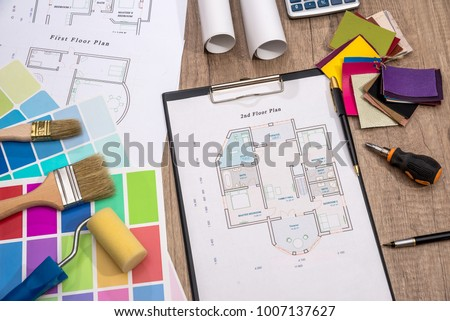 color sampler with house plan and drawing tools - Shutterstock ID 1007137627