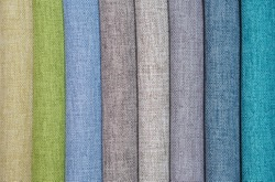 Color samples of fabric for curtains or sewing.