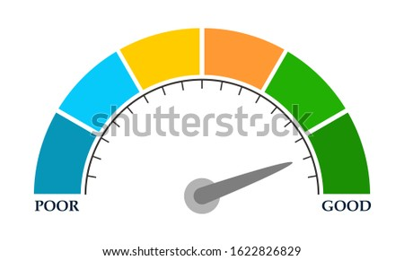 Color scale with arrow from blue to green. The measuring device icon. Sign tachometer, speedometer, indicators. Illustration in flat style. Colorful infographic gauge element