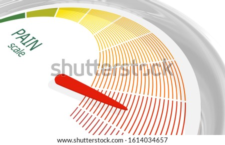 Color scale with arrow from green to red. The pain level measuring device icon. Sign tachometer, speedometer, indicators. Colorful infographic gauge element. 3D rendering