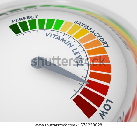 Color scale with arrow from green to red. Vitamin level measuring device icon. Sign tachometer, speedometer, indicators. Colorful infographic gauge element. 3D rendering