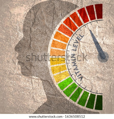 Color scale with arrow from green to red. Vitamin level measuring device icon. Sign tachometer, speedometer, indicators. Colorful infographic gauge element. Head of man silhouette.